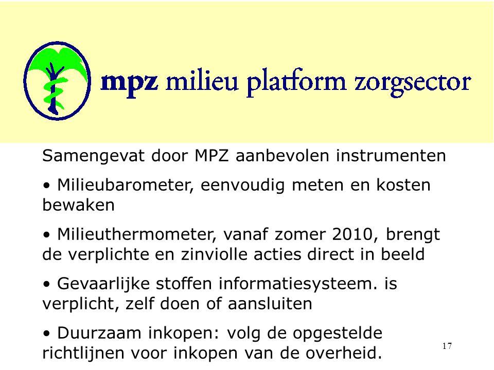 Samengevat door MPZ aanbevolen instrumenten