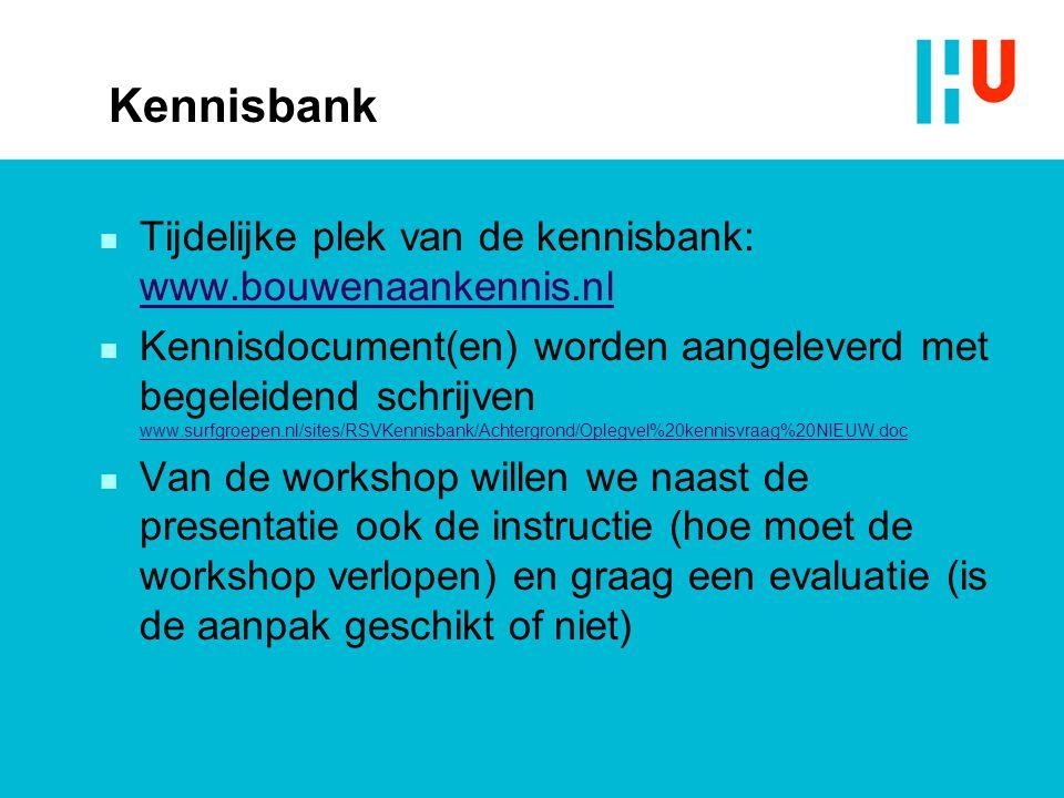 Kennisbank Tijdelijke plek van de kennisbank: www.bouwenaankennis.nl