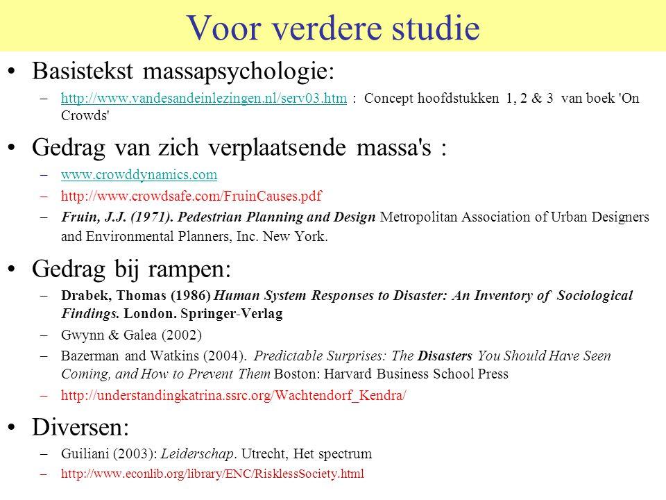 Voor verdere studie Basistekst massapsychologie: