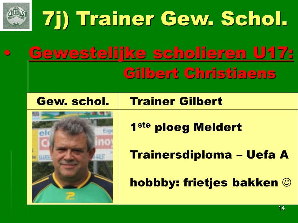 7j) Trainer Gew. Schol. Gewestelijke scholieren U17: