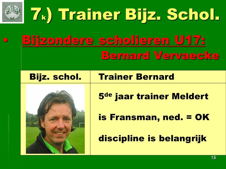 7k) Trainer Bijz. Schol. Bijzondere scholieren U17: Bernard Vervaecke