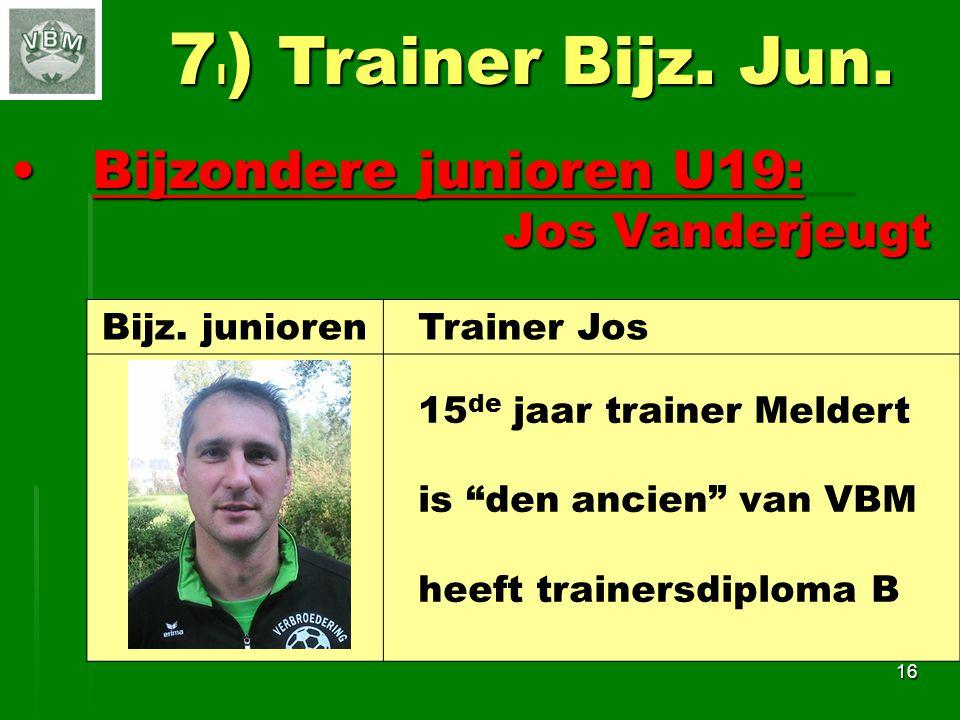 7l) Trainer Bijz. Jun. Bijzondere junioren U19: Jos Vanderjeugt