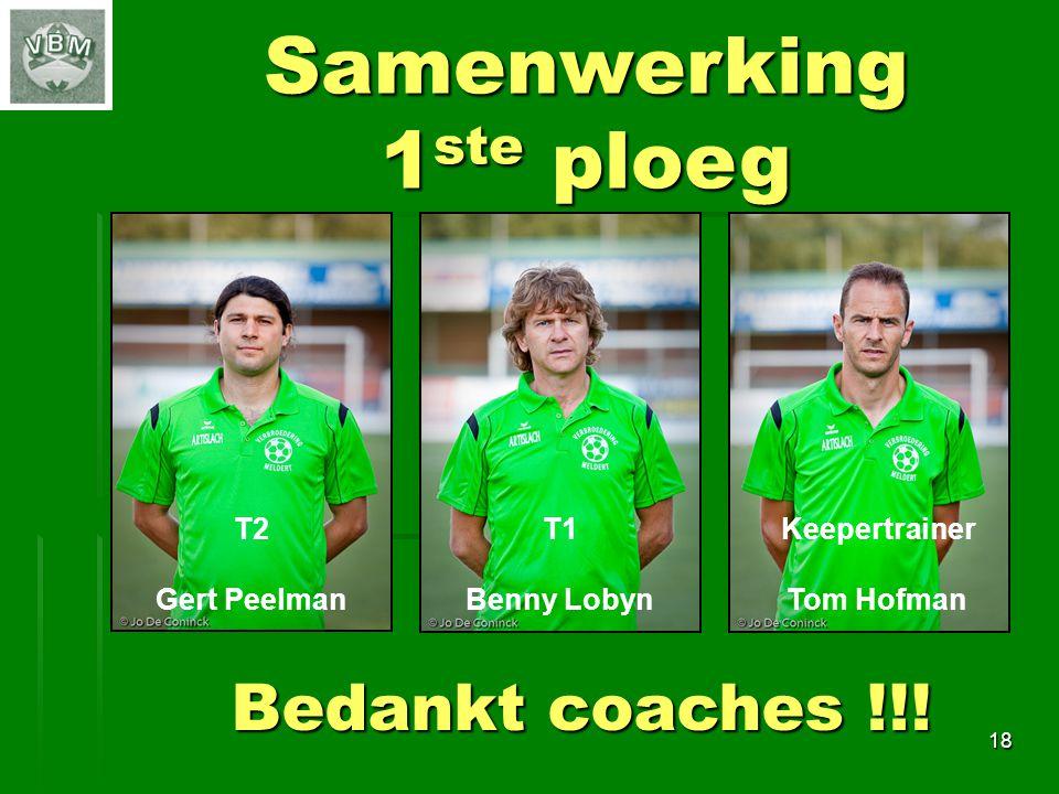 Samenwerking 1ste ploeg Bedankt coaches !!! T2 Gert Peelman T1
