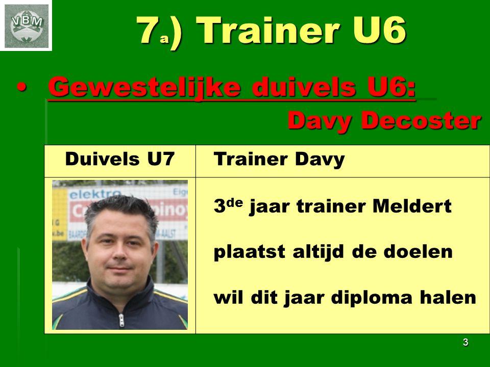 7a) Trainer U6 Gewestelijke duivels U6: Davy Decoster Duivels U7