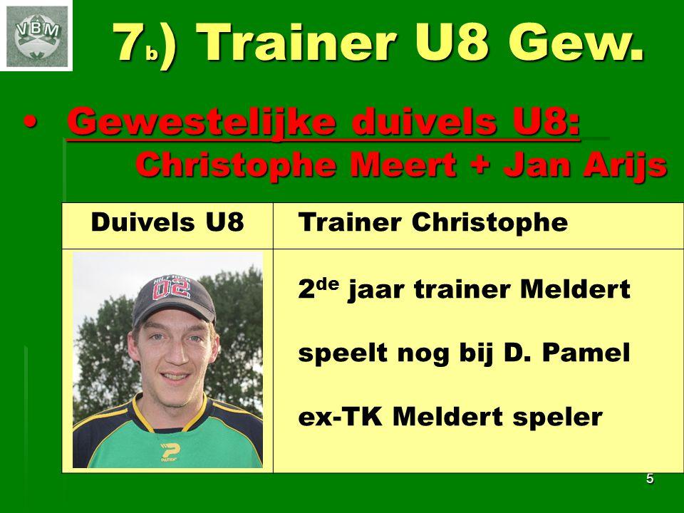7b) Trainer U8 Gew. Gewestelijke duivels U8:
