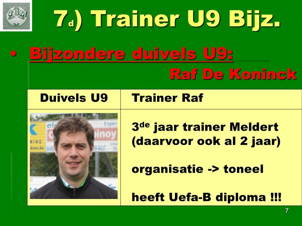 7d) Trainer U9 Bijz. Bijzondere duivels U9: Raf De Koninck Duivels U9