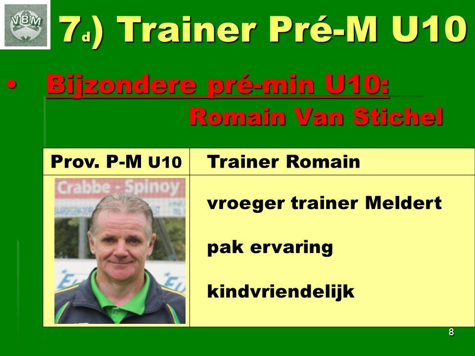 7d) Trainer Pré-M U10 Bijzondere pré-min U10: Romain Van Stichel