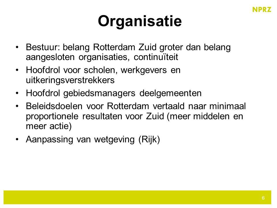Organisatie Bestuur: belang Rotterdam Zuid groter dan belang aangesloten organisaties, continuïteit.