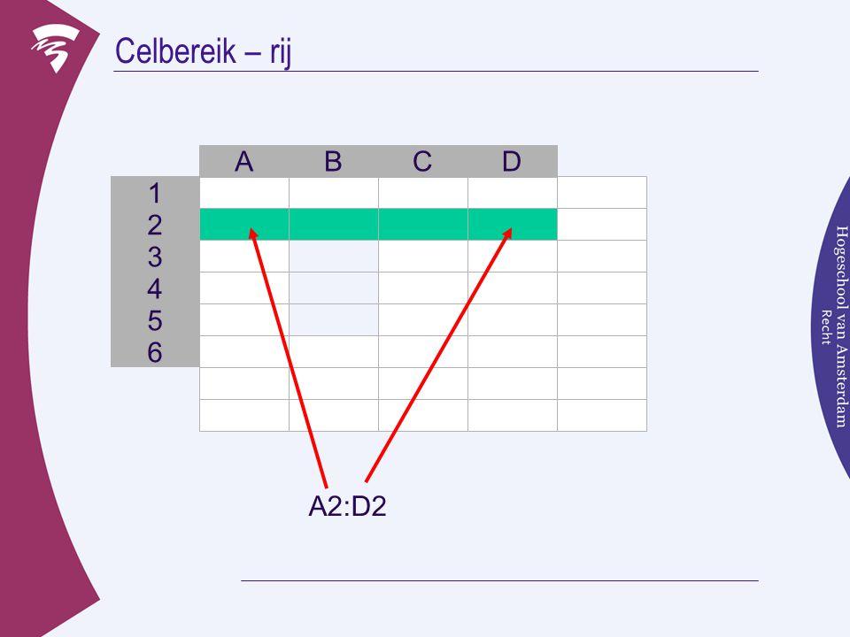 Celbereik – rij 3 B 2 1 A C D 4 5 6 A2:D2