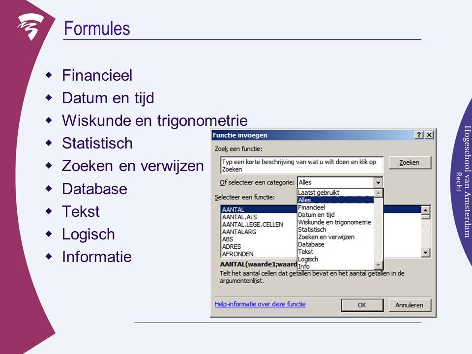 Formules Financieel Datum en tijd Wiskunde en trigonometrie