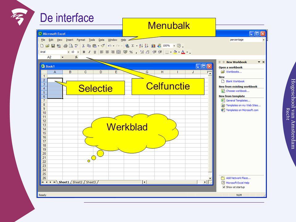 De interface Menubalk Celfunctie Selectie Functieveld Werkblad
