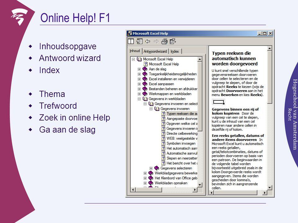 Online Help! F1 Inhoudsopgave Antwoord wizard Index Thema Trefwoord