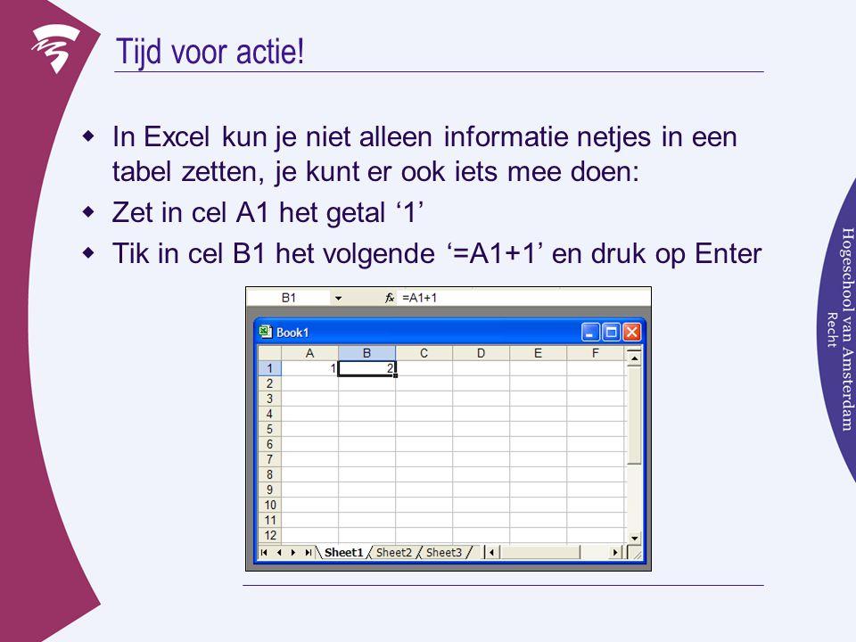 Tijd voor actie! In Excel kun je niet alleen informatie netjes in een tabel zetten, je kunt er ook iets mee doen: