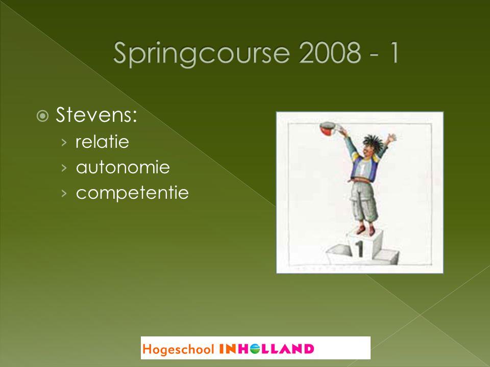 Springcourse 2008 - 1 Stevens: relatie autonomie competentie