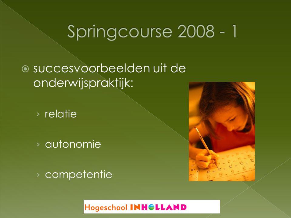Springcourse 2008 - 1 succesvoorbeelden uit de onderwijspraktijk:
