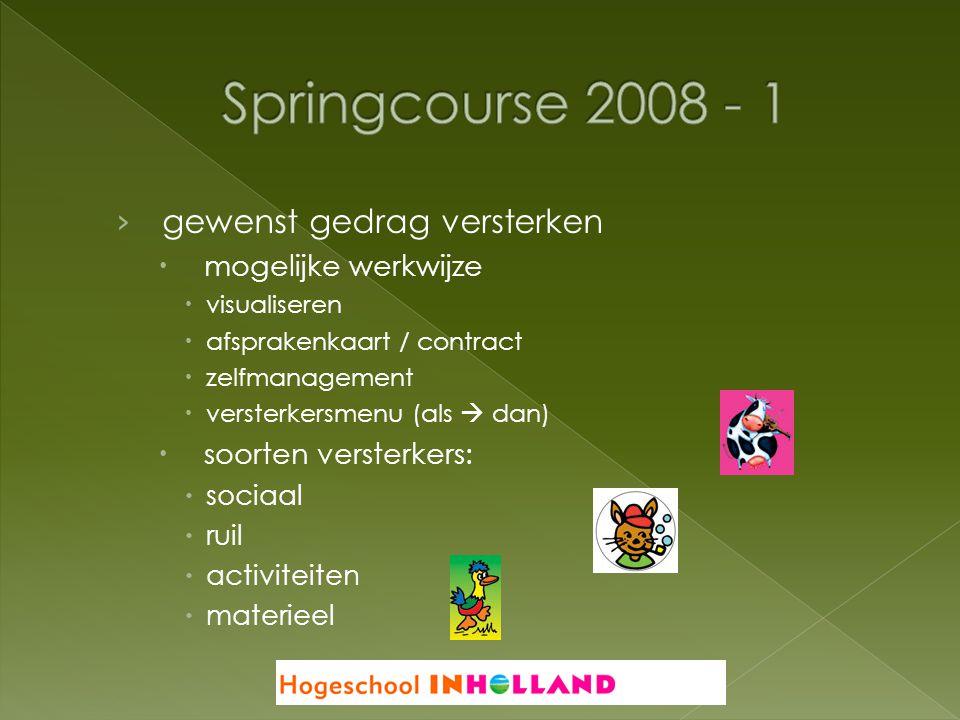 Springcourse 2008 - 1 gewenst gedrag versterken mogelijke werkwijze