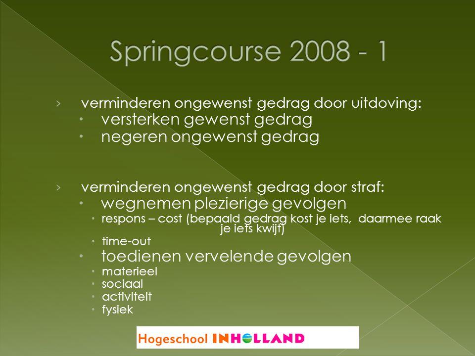 Springcourse 2008 - 1 versterken gewenst gedrag