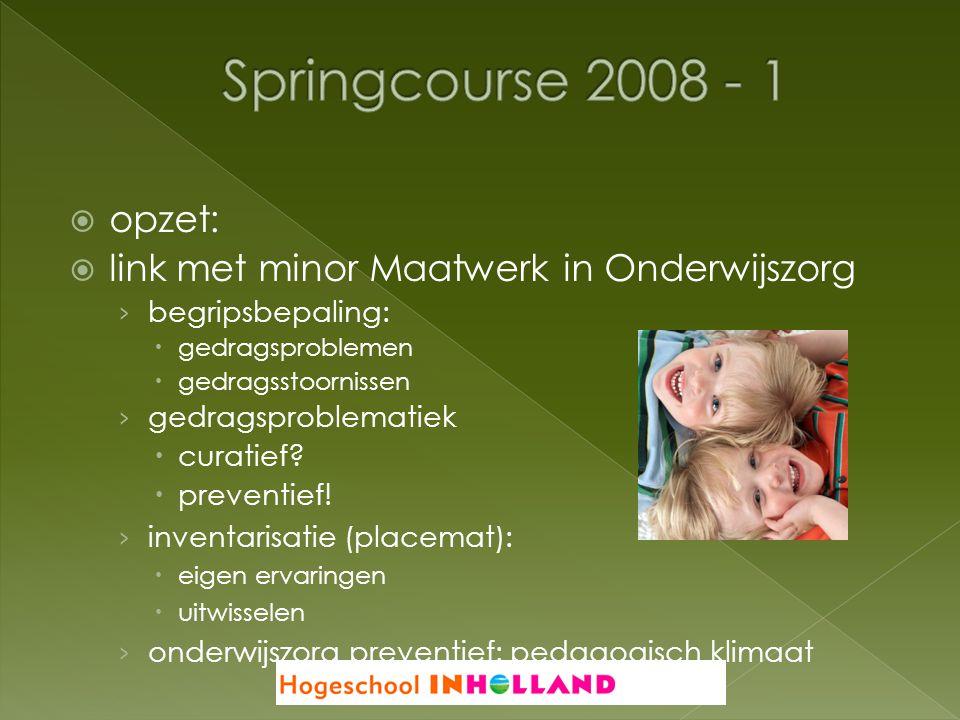 Springcourse 2008 - 1 opzet: link met minor Maatwerk in Onderwijszorg