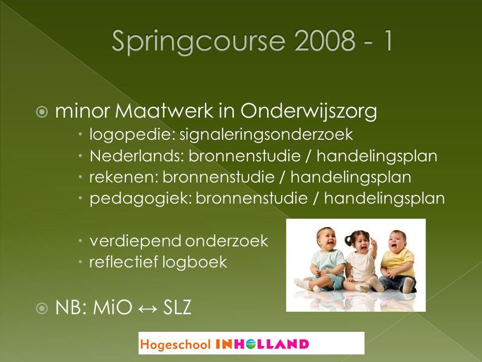 Springcourse 2008 - 1 minor Maatwerk in Onderwijszorg NB: MiO ↔ SLZ