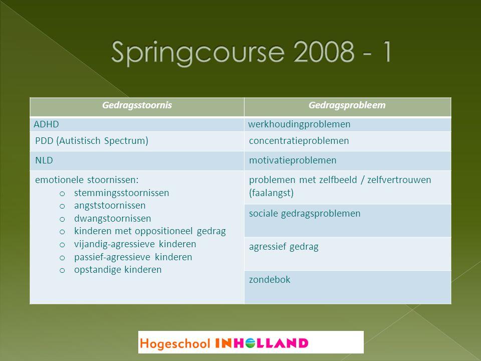 Springcourse 2008 - 1 Gedragsstoornis Gedragsprobleem ADHD