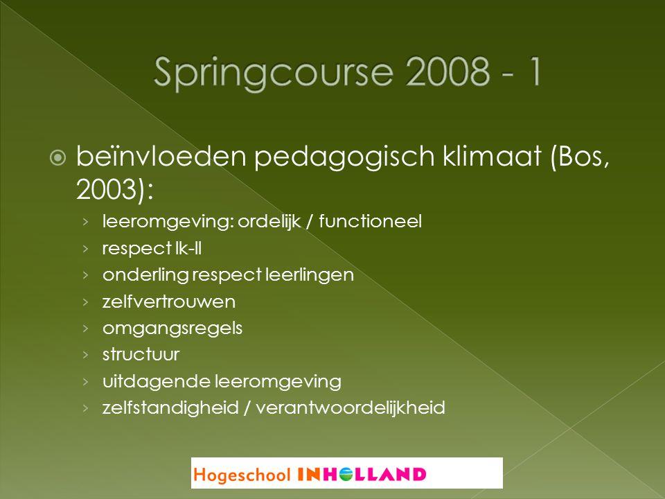 Springcourse 2008 - 1 beïnvloeden pedagogisch klimaat (Bos, 2003):