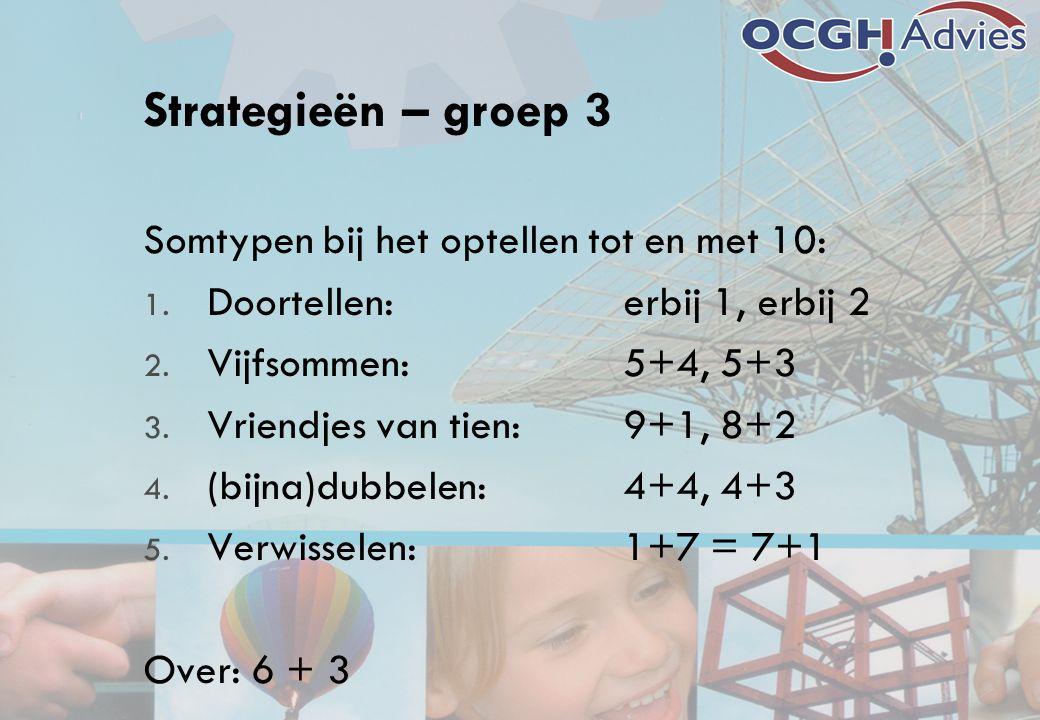 Strategieën – groep 3 Somtypen bij het optellen tot en met 10: