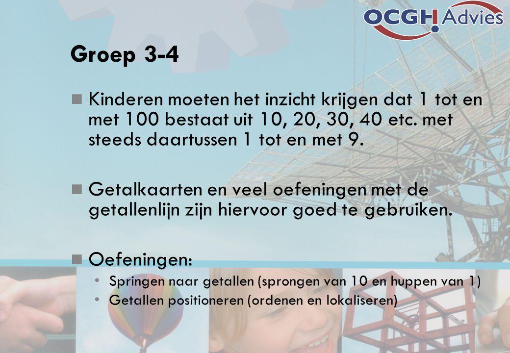Groep 3-4 Kinderen moeten het inzicht krijgen dat 1 tot en met 100 bestaat uit 10, 20, 30, 40 etc. met steeds daartussen 1 tot en met 9.