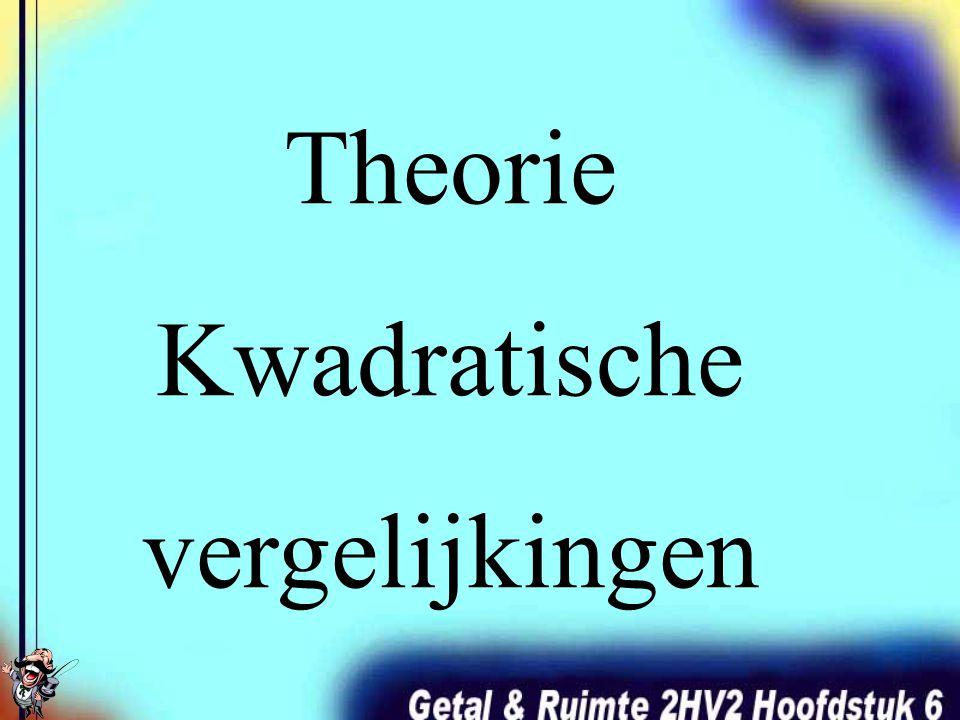 Theorie Kwadratische vergelijkingen