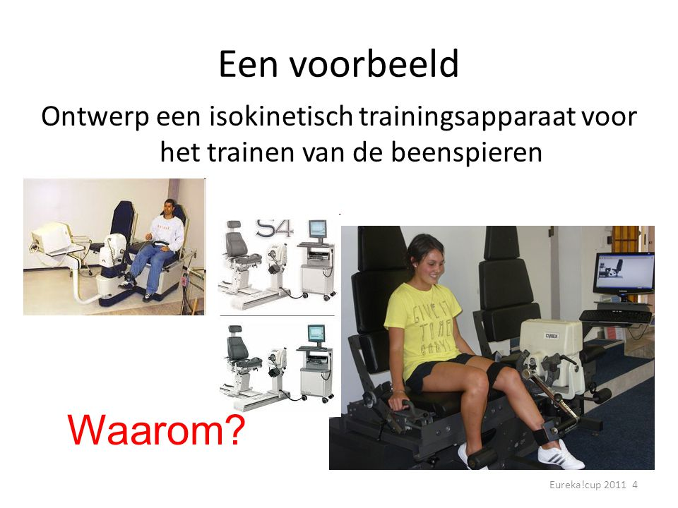 Een voorbeeld Ontwerp een isokinetisch trainingsapparaat voor het trainen van de beenspieren.