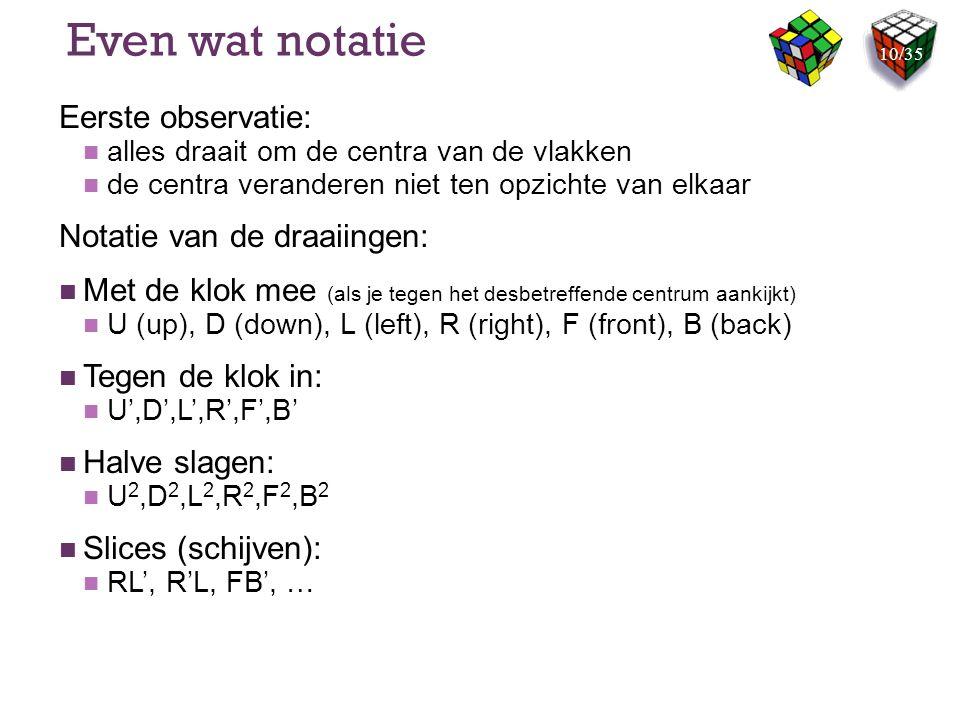 Even wat notatie Eerste observatie: Notatie van de draaiingen: