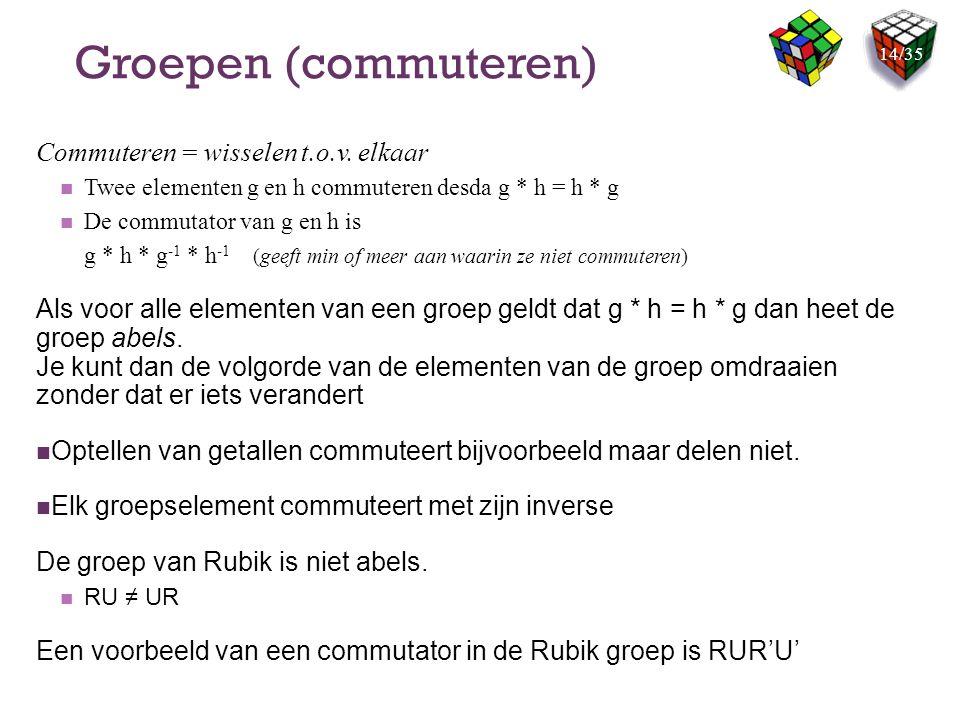 Groepen (commuteren) Commuteren = wisselen t.o.v. elkaar