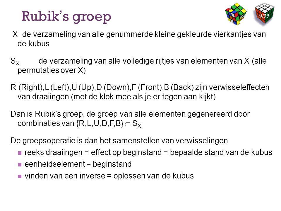 Rubik's groep X de verzameling van alle genummerde kleine gekleurde vierkantjes van de kubus.