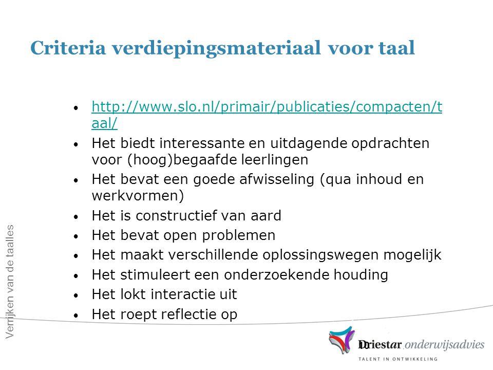Criteria verdiepingsmateriaal voor taal