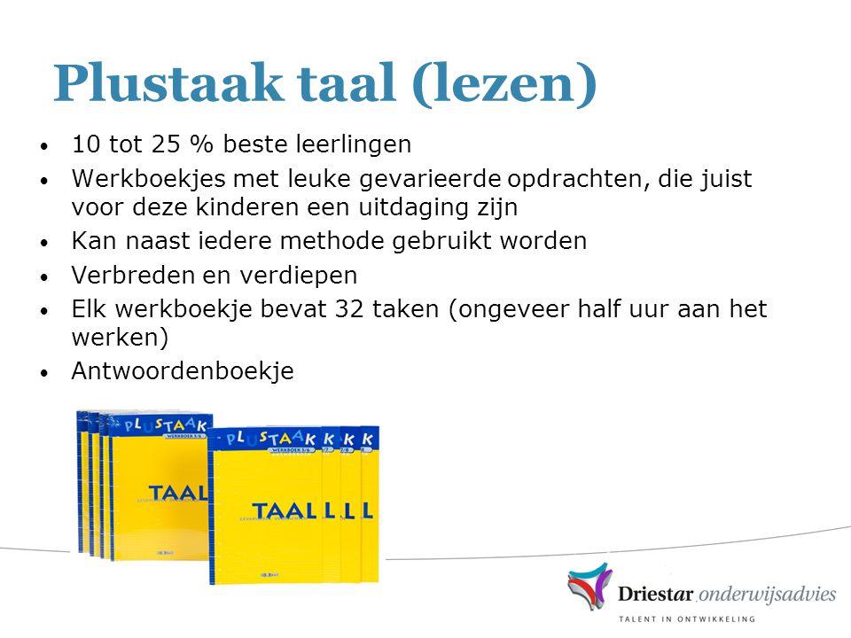 Plustaak taal (lezen) 10 tot 25 % beste leerlingen