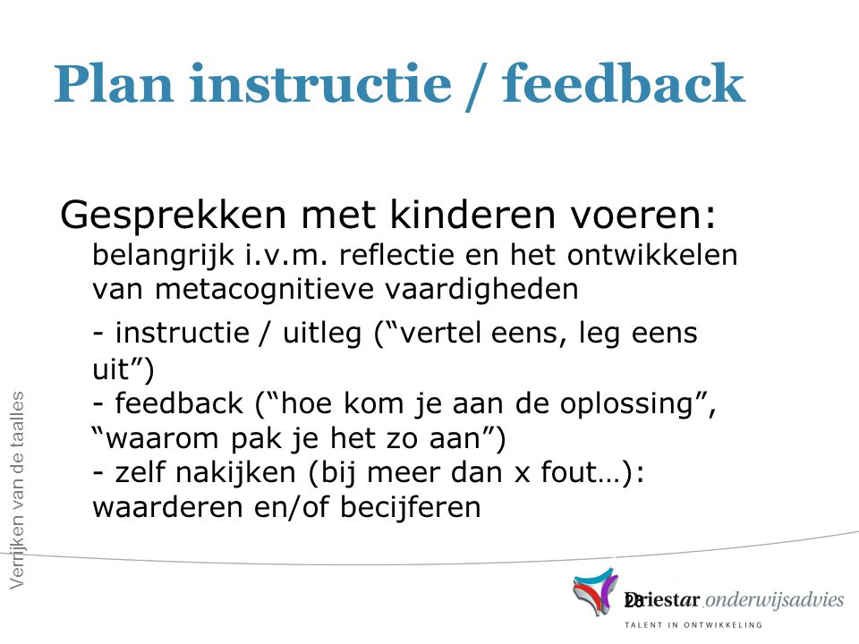Plan instructie / feedback