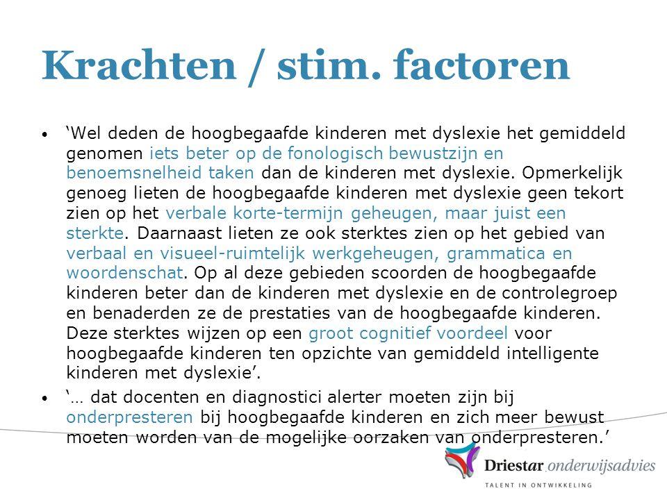 Krachten / stim. factoren