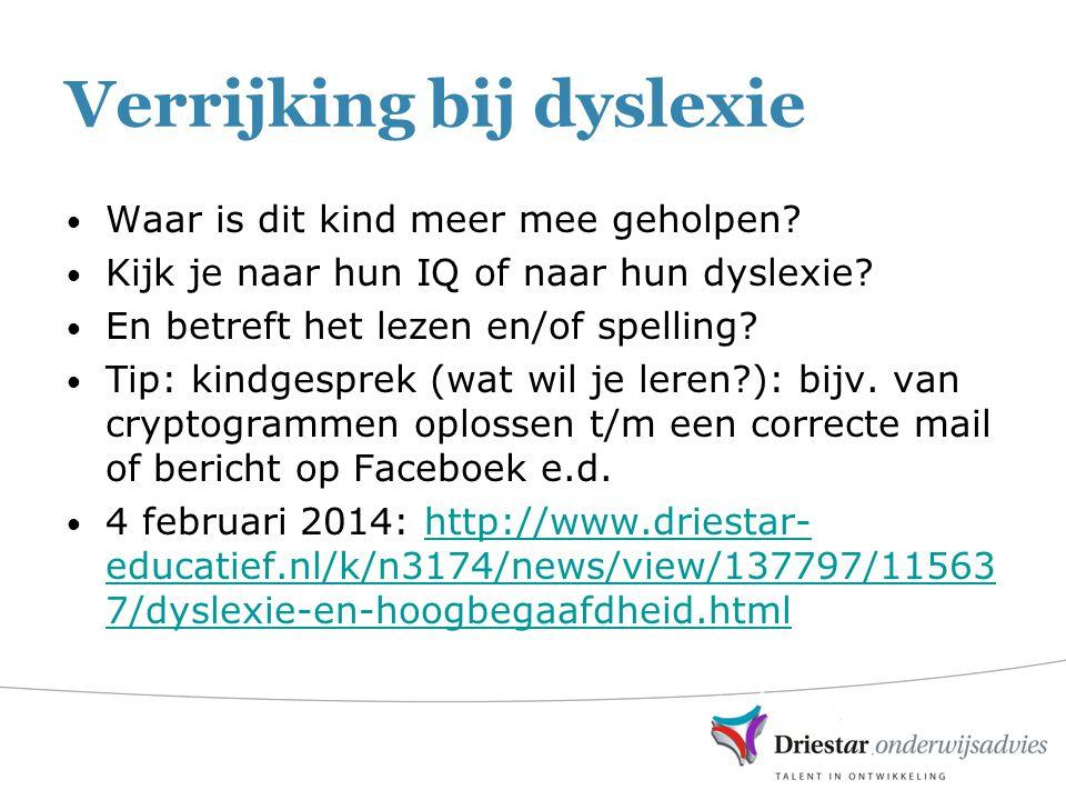 Verrijking bij dyslexie