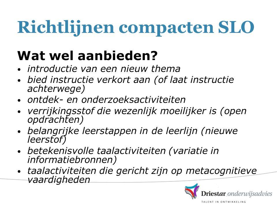 Richtlijnen compacten SLO