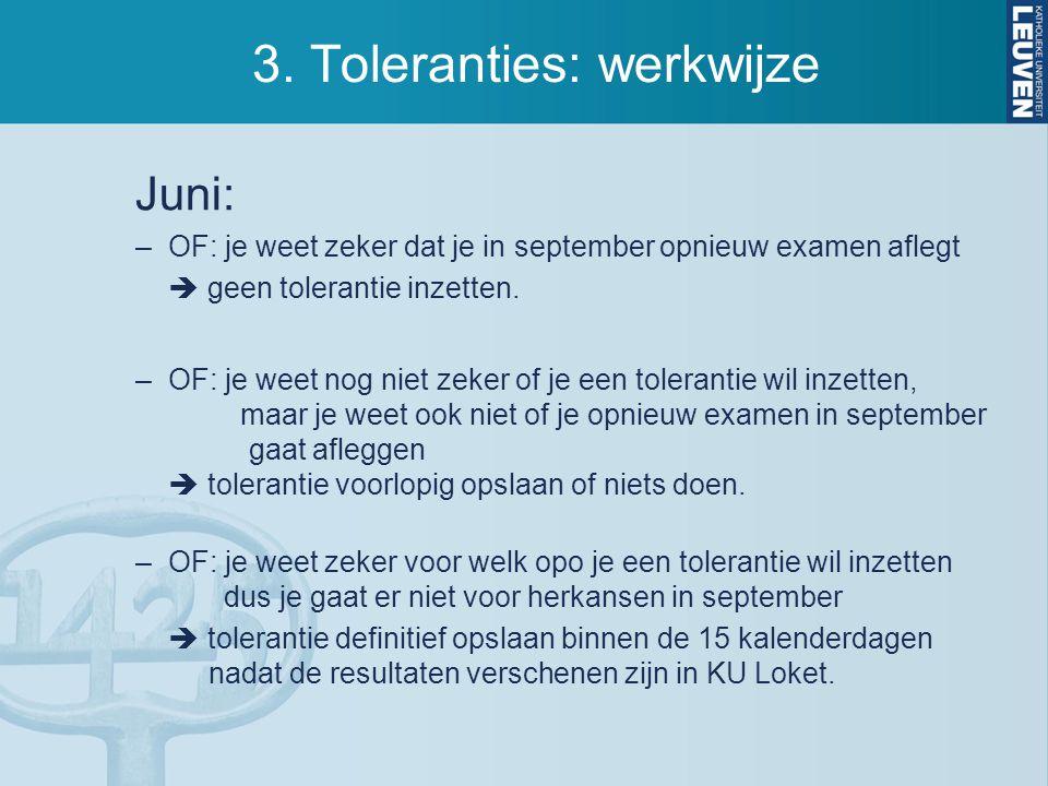 3. Toleranties: werkwijze