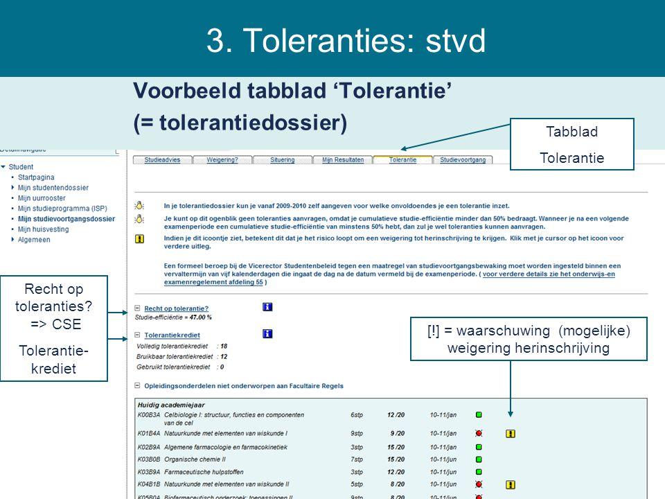 3. Toleranties: stvd Voorbeeld tabblad 'Tolerantie' (= tolerantiedossier) Tabblad. Tolerantie. Recht op toleranties => CSE.