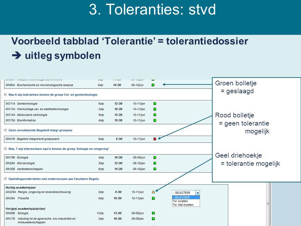 3. Toleranties: stvd Voorbeeld tabblad 'Tolerantie' = tolerantiedossier  uitleg symbolen Groen bolletje = geslaagd.