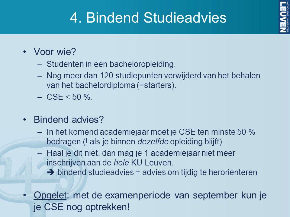 4. Bindend Studieadvies Voor wie Bindend advies