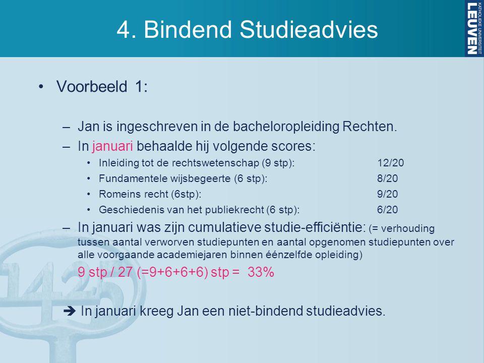 4. Bindend Studieadvies Voorbeeld 1: