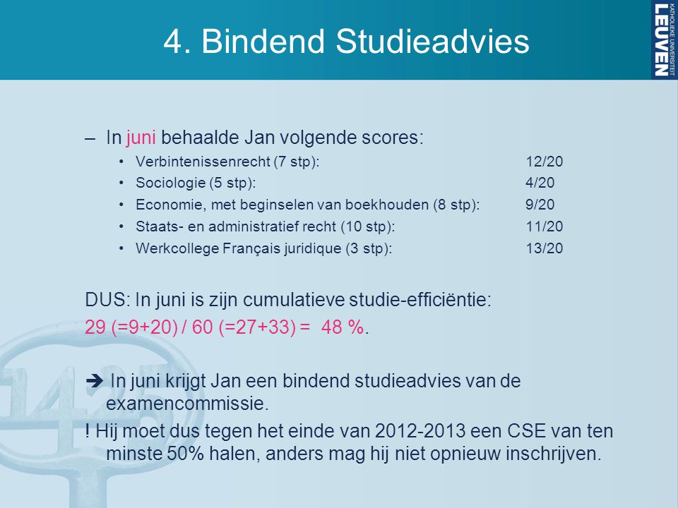 4. Bindend Studieadvies In juni behaalde Jan volgende scores:
