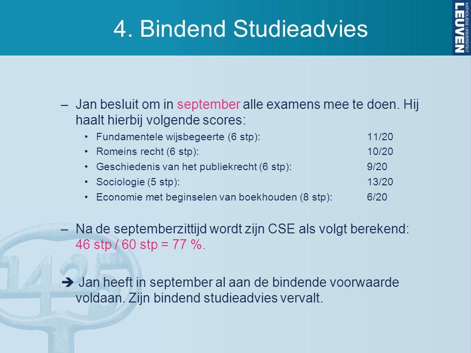 4. Bindend Studieadvies Jan besluit om in september alle examens mee te doen. Hij haalt hierbij volgende scores: