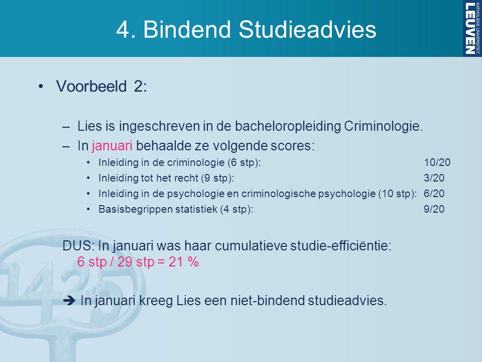 4. Bindend Studieadvies Voorbeeld 2: