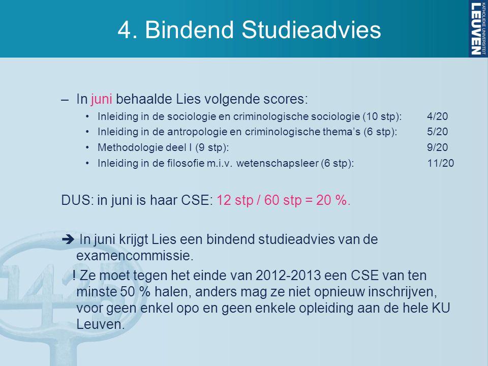 4. Bindend Studieadvies In juni behaalde Lies volgende scores: