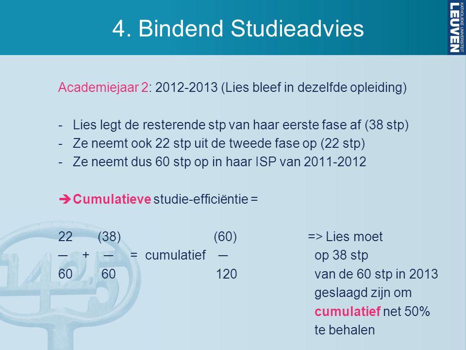 4. Bindend Studieadvies Academiejaar 2: 2012-2013 (Lies bleef in dezelfde opleiding) Lies legt de resterende stp van haar eerste fase af (38 stp)