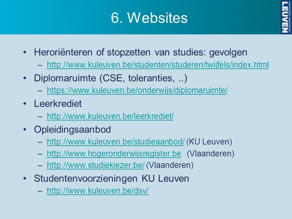 6. Websites Heroriënteren of stopzetten van studies: gevolgen