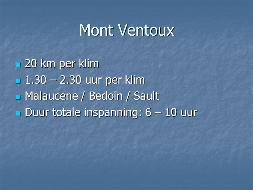 Mont Ventoux 20 km per klim 1.30 – 2.30 uur per klim
